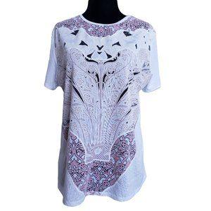 ZARA Off White Print T Shirt with Mesh Inserts 8